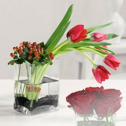 Tulips and Hypericum in Glass Cube from Roses and More Florist in Dallas, TX