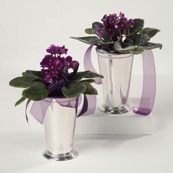 Violets In Silver Vase from Roses and More Florist in Dallas, TX