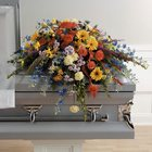 Colorful Memories Casket Spray from Roses and More Florist in Dallas, TX