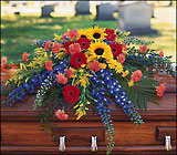 Vibrant Summer Casket Spray from Roses and More Florist in Dallas, TX