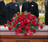 Red Regards Casket Spray from Roses and More Florist in Dallas, TX