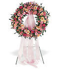 Respectful Pink Wreath from Roses and More Florist in Dallas, TX